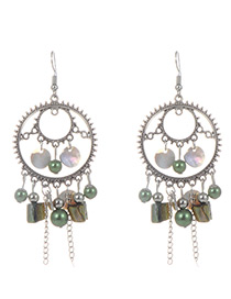 Fashion Green Circular Ring&tassel Decorated Earrings