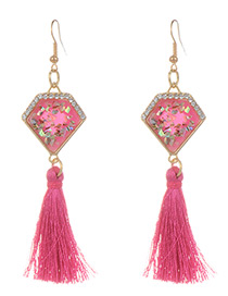 Fashion Plum Red Long Tassel Decorated Geometric Shape Earrings