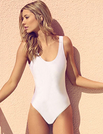 Sexy White Pure Color Decorated Simple Backless Swimwear