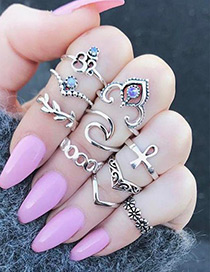 Fashion Silver Color Pure Color Decorated Irregular Shape Ring(10pcs)