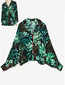 Fashion Green Flower Pattern Decorated Long Sleeves Coat