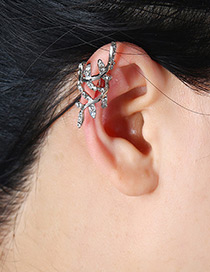 Fashion Silver Color Leaf Shape Decorated Hollow Out Earrings