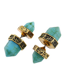 Fashion Gold Color+blue Six Prism Shape Gemstone Decorated Simple Earrings
