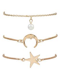 Fashion Gold Color Stars&moon Shape Decorated Simple Bracelet(3pcs)