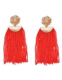 Vintage Red Tassel Decorated Pure Color Earrings