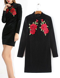 Vintage Black Embroidery Decorated Long Sleeves Dress