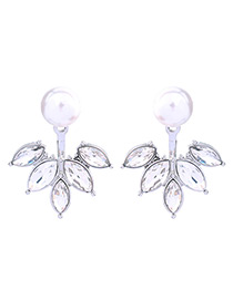 Elegant White Pure Color Decorated Earrings