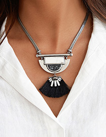 Exaggerate Silver Color+black Tassel Decorated Double Layer Necklace
