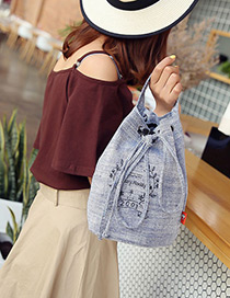 Fashion Gray Flower Shape Pattern Decorated Backpack