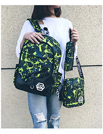 Fashion Green Color-matching Decorated Backpack (3pcs)