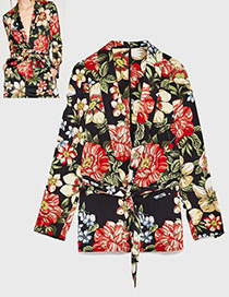Fashion Multi-color Flower Pattern Decorated Suit Jacket