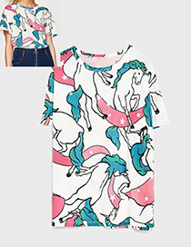 Lovely Multi-color Unicorn Pattern Decorated T-shirt