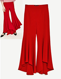 Fashion Red Pure Color Decorated Bell-bottoms