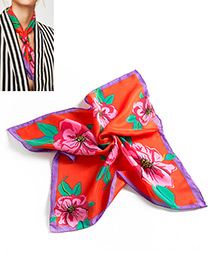Vintage Red Flower Shape Decorated Scarf