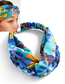 Fashion Blue Color-matching Decorated Hair Band