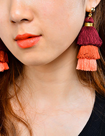 Bohemia Claret-red Color-matching Decorated Tassel Earrings