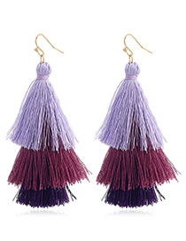 Bohemia Purple Color-matching Decorated Tassel Earrings