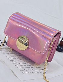 Fashion Pink Round Shape Buckle Decorated Simple Shoulder Bag