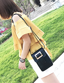 Fashion Black Square Shape Buckle Decorated Shoulder Bag