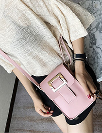 Fashion Pink Square Shape Buckle Decorated Shoulder Bag