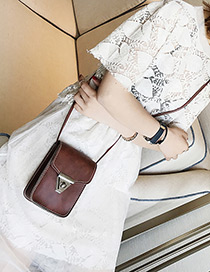 Fashion Dark Brown Triangle Shape Buckle Decorated Shoulder Bag