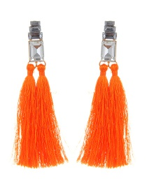 Fashion Orange Tassel&diamond Decorated Pure Color Earrings