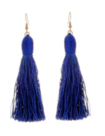 Fashion Sapphire Blue Long Tassel Decorated Pure Color Earrings