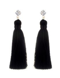 Fashion Black Tassel&diamond Decorated Pure Color Earrings