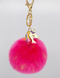 Fashion Plum Red Unicorn&fuzzy Ball Decorated Simple Key Chain