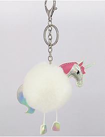 Fashion White Unicorn&fuzzy Ball Decorated Simple Key Chain