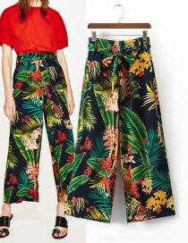 Fashion Multi-color Flower Pattern Decorated Ultra-wide-leg Trousers