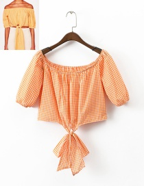 Fashion Yellow Grid Pattern Decorated Off Shoulder Blouse