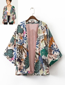 Fashion Multi-color Flower Pattern Decorated Simple Kimono Coat