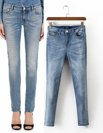 Trendy Light Blue Pure Color Decorated High Waist Jeans