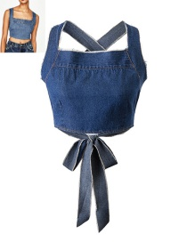 Trendy Dark Blue Bowknot Decorated Pure Color Blouse