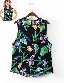 Trendy Multi-color Flower Pattern Decorated Sleeveless Blouse