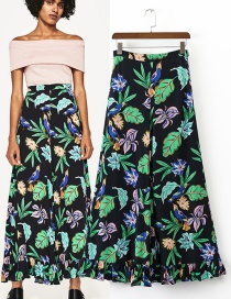 Trendy Multi-color Leaf&flower Pattern Decorated Ultra-wide-leg Trousers