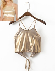 Trendy Gold Color Pure Color Decorated Bandage Suspender Vest
