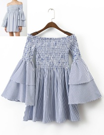 Trendy Blue Stripe Pattern Decorated Flare Sleeves Dress