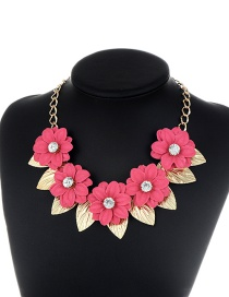 Fashion Plum Red Leaf&flower Decorated Simple Necklace