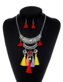 Fashion Red+yellow Tassel Decorated Color Matching Jewelry Sets