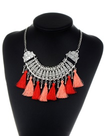 Fashion Red+pink Diamond&tassel Decorated Color Matching Jewelry Sets