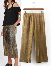 Sexy Gold Color Pure Color Decorated Wide-leg Trousers