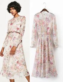 Elegant Multi-color Flower Decorated Long Dress Reviews