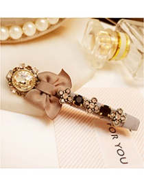 Fashion Champagne Hollow Out Bowknot Shape Decorated Hairpin