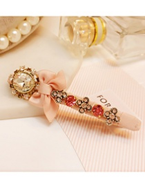 Fashion Pink Hollow Out Bowknot Shape Decorated Hairpin