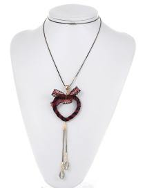 Fashion Red Bowknot Decorated Long Necklace