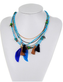 Bohemia Blue Feather Shape Decorated Multilayer Necklace