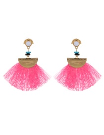 Bohemia Pink Tassel Decorated Earrings