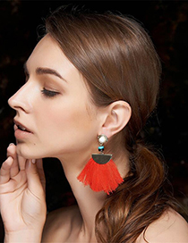 Bohemia Red Tassel Decorated Earrings